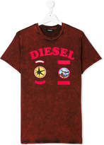 Diesel Teen stone washed badge T-shirt