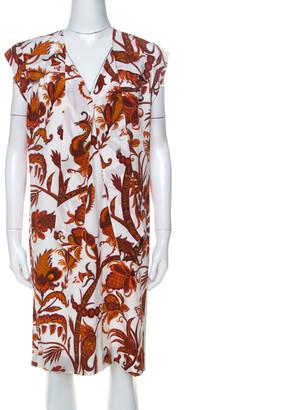Gucci Whte & Orange Paisley Print Silk Shift Dress M