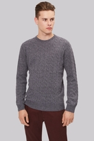 Moss Bros Charcoal Cable Crew Neck Jumper