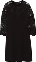 Just Cavalli Lace-paneled stretch-jersey mini dress