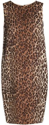 Dolce & Gabbana Leopard-print Wool And Silk-blend Jacquard Dress