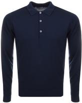 John Smedley Belper Knit Polo T Shirt Navy