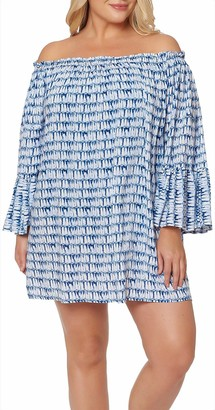 Jessica Simpson Women's Plus Size Off The Shoulder Swim Cover-Up