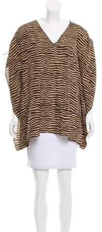 Michael Kors Dolman-Sleeve Zebra Print Top