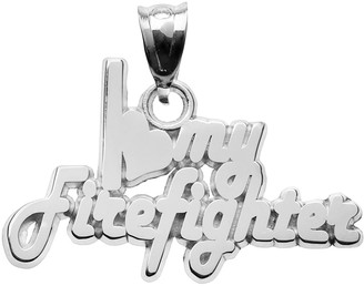 """Insignia Collection Sterling Silver """"I Love My Firefighter"""" Pendant"""