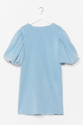 Nasty Gal Womens When the Going Gets Puff Sweatshirt Dress - Pale Blue