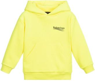 Balenciaga Kids Fluorescent Yellow Hoodie