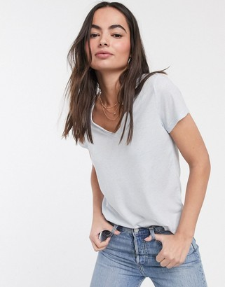 French Connection hetty v neck jersey sleeve t-shirt in blue