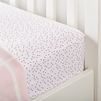 The White Company Scattered Heart Fitted Sheet - Set of 2, White/Pink, Cot Bed