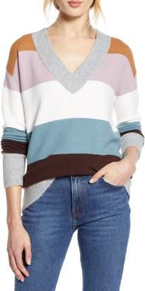 Halogen x Atlantic-Pacific Stripe V-Neck Sweater