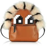 Les Petits Joueurs Brown Leather and Fur Baby Mick Napoleon Backpack