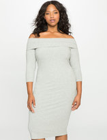 ELOQUII Plus Size Ribbed Off the Shoulder Dress