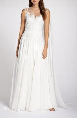 Tadashi Shoji Embellished Chiffon Cape Back Wedding Dress