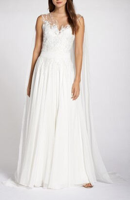 Tadashi Shoji V-Neck Lace Wedding Dress with Cape