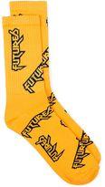 Topman Yellow And Navy Futures Slogan Tube Socks