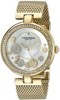 Akribos XXIV Women's AK881YG Round White Mother of Pear, Silver and Yellow Gold Dial Three Hand Quartz Gold Tone Bracelet Watch