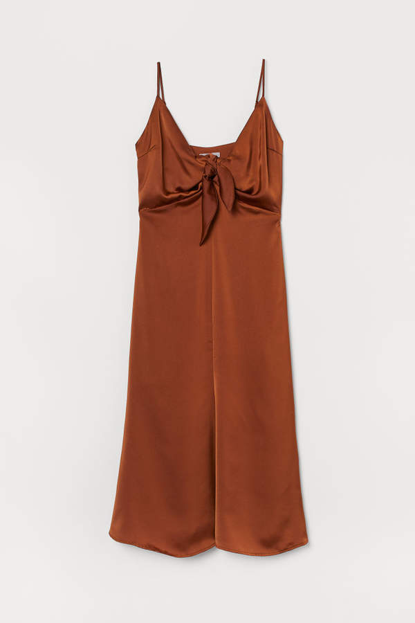 H&M Satin Dress with Ties - Beige