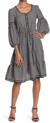 Max Studio Quarter Sleeve Tiered Dress