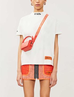 Heron Preston Embroidered-neckline branded-patch cotton-jersey T-shirt