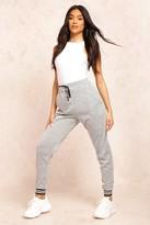 boohoo Harper Mono Cuff Knitted Joggers grey
