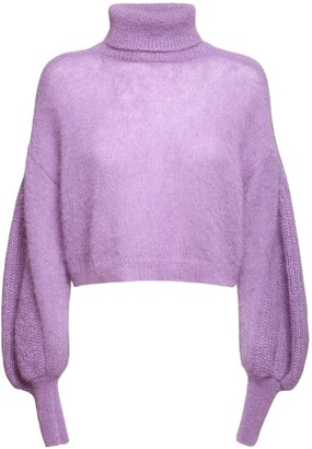 Alberta Ferretti Knit Mohair Blend Turtleneck Sweater