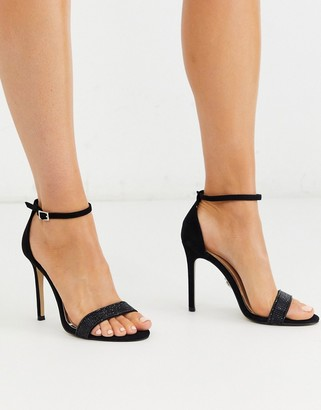 Lipsy rhinestone strap barely there heeled shoe in black