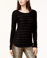 Maison Jules Sequin Striped Sweater, Created for Macy's