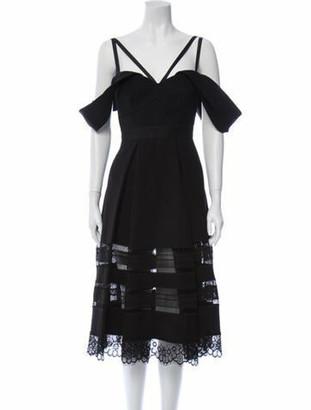 Self-Portrait Lace Pattern Knee-Length Dress Black