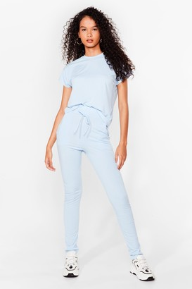 Nasty Gal Womens On Rib-peat Tee and Joggers Set - Blue - S/M