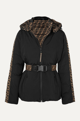 Fendi Reversible Belted Printed Ski Jacket - Black