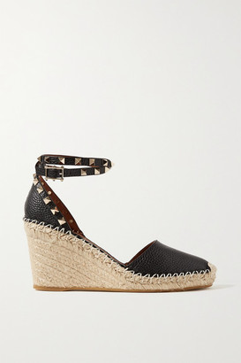 Valentino Garavani Rockstud 85 Textured-leather Wedge Espadrilles - Black
