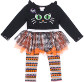 Little Lass Orange & Black Cat Tulle-Accent Tee & Leggings - Toddler