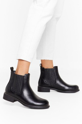 Nasty Gal Womens What Stud You Do Faux Leather Chelsea Boots - Black