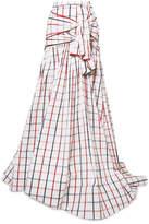 Rosie Assoulin Tri-tie Checked Cotton-blend Seersucker Maxi Skirt - White