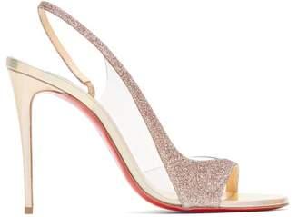 Christian Louboutin Optisling 100 Glittered Strap Sandals - Womens - Gold