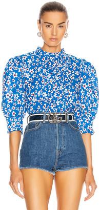 Rixo Mandy Top in Blue, Red & White Micro Mod Floral | FWRD