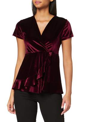 Joe Browns Women's Velvet Wrap Style Top T-Shirt Red (Burgundy (Size:12)