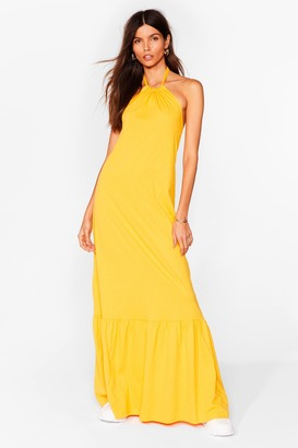 Nasty Gal Womens Ain't No Halter Back Girl Relaxed Maxi Dress - Orange