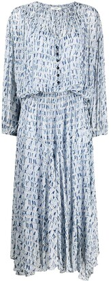 Etoile Isabel Marant Tie-Dye Print Long-Sleeved Dress