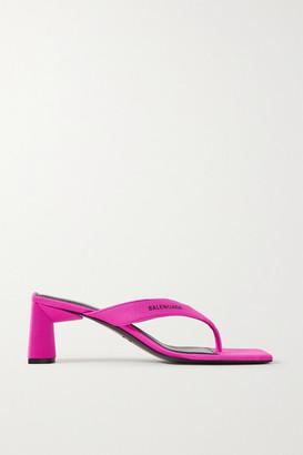 Balenciaga Neon Logo-printed Jersey Sandals - Fuchsia