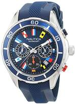 Nautica Men's 'NST 12 FLAGS' Quartz Stainless Steel and Silicone Casual Watch, Color:Blue (Model: NAD16534G)
