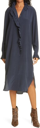 Jade Long Sleeve Silk Shirtdress