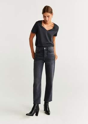 MANGO Beaded cotton T-shirt charcoal - XS - Women