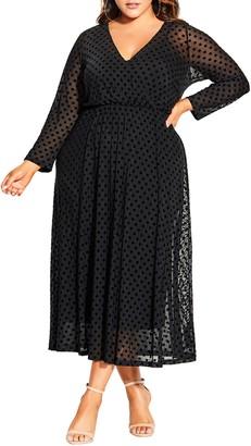 City Chic Flock Spot Long Sleeve Dress