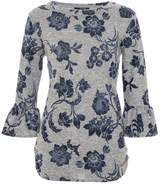 Quiz Grey And Blue Light Knit Floral Top