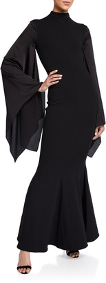 SOLACE London Fleur Asymmetrical-Sleeve Maxi Dress