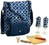 Bordeaux Wine & Cheese Cooler Bag with Glass Wine Glasses for 2 - Trellis Blue