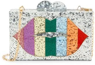 Bari Lynn Rainbow Lips Box Clutch