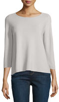 Eileen Fisher 3/4-Sleeve Organic Cotton Links Top