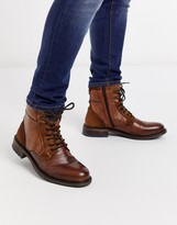 Dune leather chunky lace up boot in brown